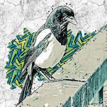 Elster auf einem Brückengeländer (Graffiti-Kunst) von Art by Jeronimo