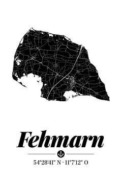 Fehmarn | Landkarten-Design | Insel Silhouette | Schwarz-Weiß von ViaMapia