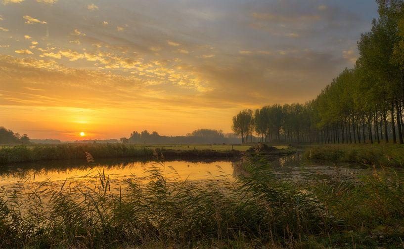 Gouden zonsopkomst in Nederland van Jos Pannekoek