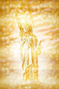 NEW YORK CITY vrijheidsbeeld met vlag   goud