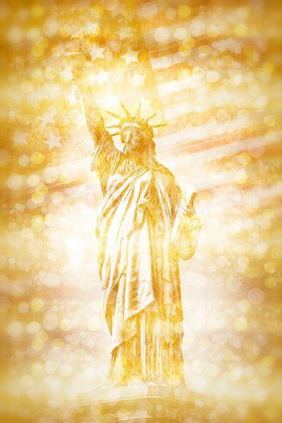 NEW YORK CITY vrijheidsbeeld met vlag   goud van Melanie Viola