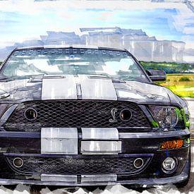 Ford Mustang Shelby schilderij aquarel van Bert Hooijer