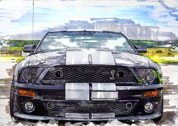Ford Mustang Shelby malt Aquarell von Bert Hooijer