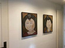 Klantfoto: Een portret van een Chinese dikke dame  'Fat lady' II van Linda Dammann, op canvas
