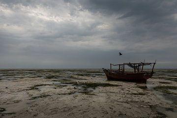 Verlaten vissersboot op het strand van OCEANVOLTA