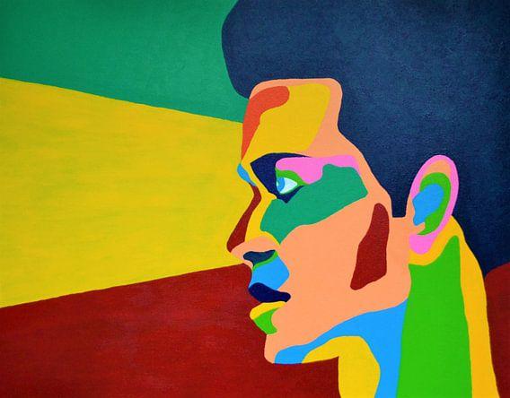Where are you? Schilderij met groen, geel rode achtergrond.  van Freek van der Hoeve