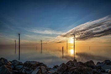 Zonsondergang IJsselmeer van Geertjan Kuper
