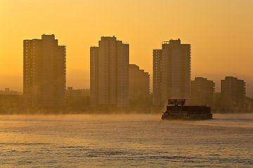 Lever de soleil brumeux à De Esch à Rotterdam sur Anton de Zeeuw