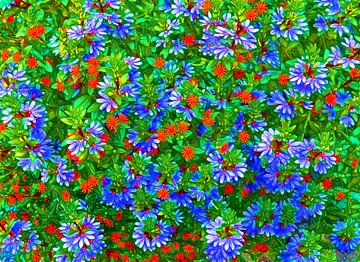 Blumen-Wand (blau) von Caroline Lichthart