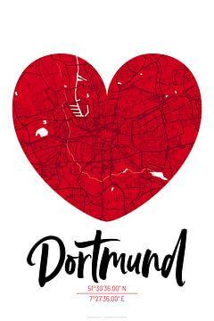 Dortmund – City Map Design Stadtplan Karte (Herz) von ViaMapia