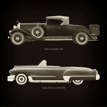 Cadillac V16 Roadster 1930 en Cadillac Deville Convertible 1948