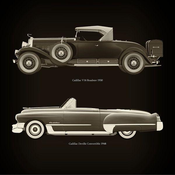 Cadillac V16 Roadster 1930 en Cadillac Deville Convertible 1948 van Jan Keteleer