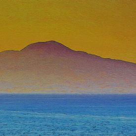 De Vulkaan in de Schemering - Vesuvius - Italie - Golf van Napels - Schilderij van Schildersatelier van der Ven