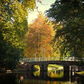 De Maliebrug over de Stadsbuitengracht in Utrecht in de herfst von De Utrechtse Grachten