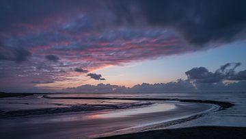 Hollandse kust Groningen , ondergaande zon