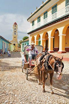 Cubaanse koetsier met vriendelijke lach in Trinidad van Wouter van der Ent