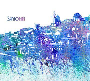 Santorini Griekenland Skyline Silhouet Impressionistisch van Markus Bleichner