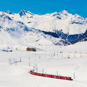 Bernina Express bij de Berninapas in Zwitserland van Werner Dieterich