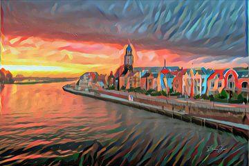 Kleurrijk Schilderij Deventer aan de IJssel van Slimme Kunst.nl