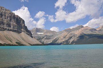 Azuurblauw meer in de Canadese Rocky Mountains van Lucie Lindeman