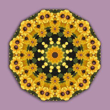 Gelbe Magaritten, Black-eyed Susans, Floral mandala-style,  van Barbara Hilmer-Schroeer
