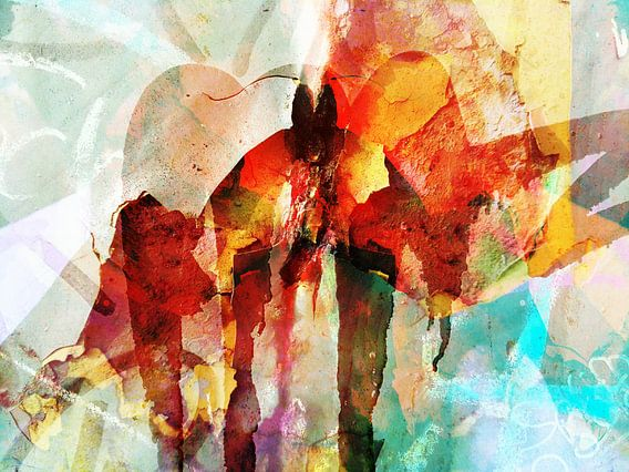Modern, Abstract kunstwerk - Burning Bridges  van Art By Dominic