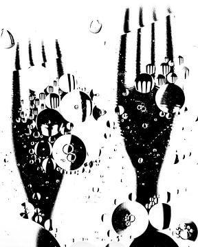 Gabeln (schwarz und weiß) von Marjolijn van den Berg