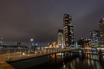 Het zijaanzicht van de Rijnhaven-brug 's nachts van Gea Gaetani d'Aragona