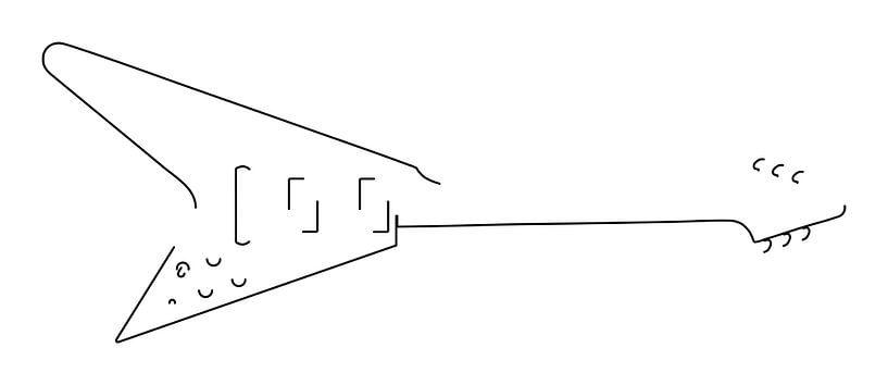 Gitarren-Silhouette (Fliegender V-Stil) von Drawn by Johan