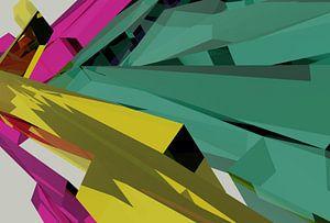 Tha Maze 6-2-5 (on White) von Pat Bloom - Moderne 3D, abstracte kubistische en futurisme kunst