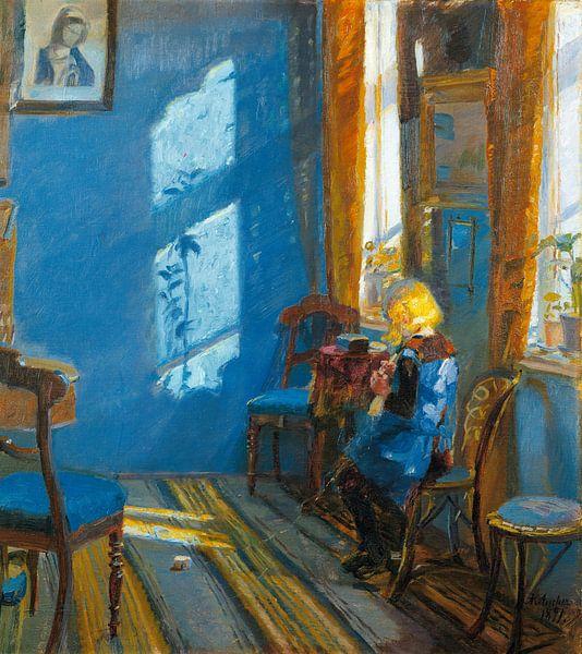 Sonnenlicht im blauen Raum, Anna Ancher von Meesterlijcke Meesters