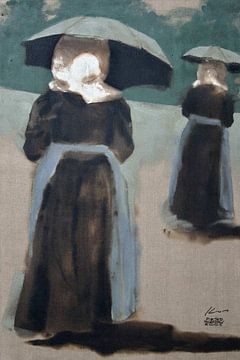 Huizervrouwen met plu sur Pieter Hogenbirk
