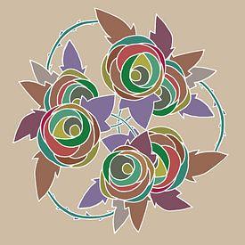 Les Roses dessin nr 5 sur Marijke Mulder
