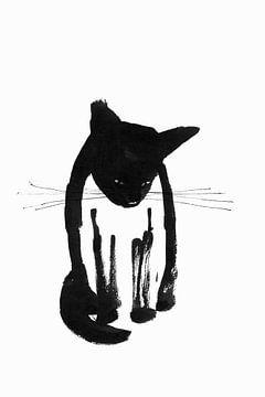Zwarte kat, zittend van Corine Teuben