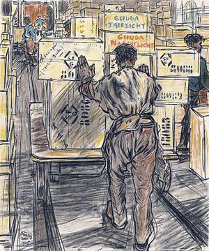 Het magazijn, kaarsenfabriek Gouda, Jan Toorop, 1905 van Atelier Liesjes