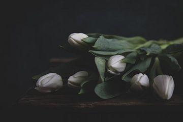 Weiße Tulpen auf Holz von Maaike Zaal