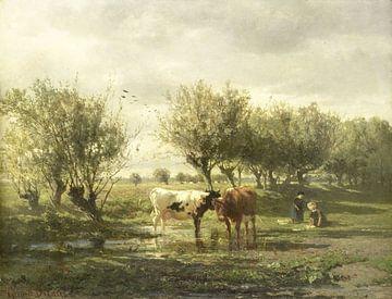 Kühe bei einer Pfütze, Gerard Bilders von Meesterlijcke Meesters