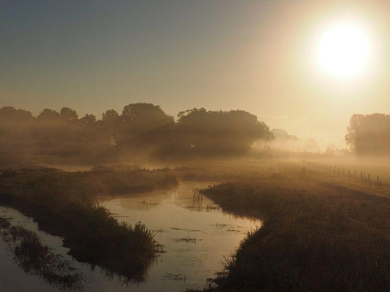Mistige zonsopkomst boven het water van Leonie de Wilde