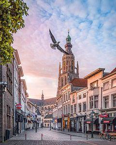 Vrije vogel Vismarktstraat & Grote Kerk te Breda van Joris Bax