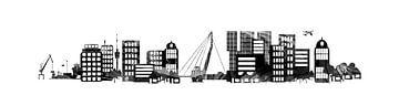 Rotterdam skyline stylisé en noir et blanc sur Anouschka Hendriks