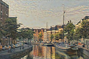 Schilderij van Groningen: Zicht op Hoge Der Aa vanaf Groningse A-brug