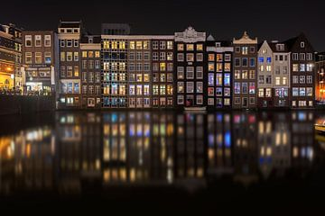Reflets de la ville d'Amsterdam la nuit von iPics Photography