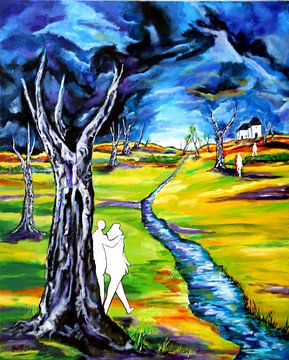 Landschaft mit Figuren van Eberhard Schmidt-Dranske