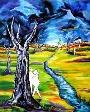 Landschaft mit Figuren von Eberhard Schmidt-Dranske