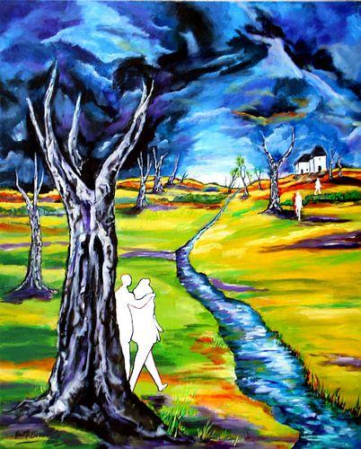Landschaft mit Figuren von