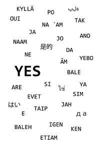 """Das Wort  """" JA """" in verschiedenen Sprachen"""