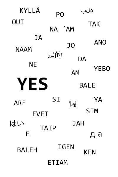 """Das Wort  """" JA """" in verschiedenen Sprachen von Claudia Evans"""