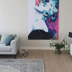 Photo de nos clients: Madonna True Blue Portrait abstrait sur Art By Dominic, sur hd metal