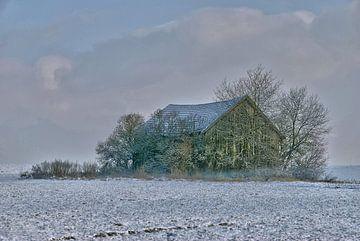 einsame Holzhütte im Winter van Peter Bergmann
