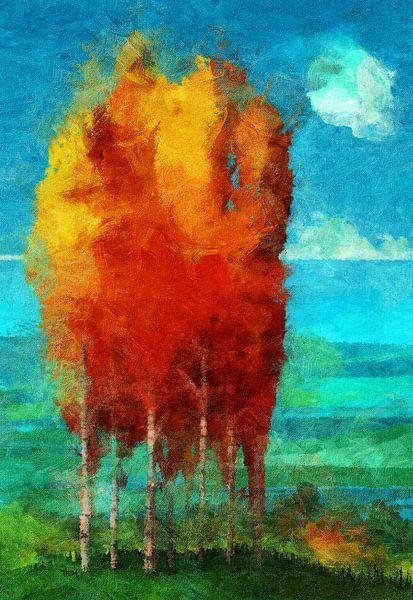 Brandende berken van Thomas Dijkstra